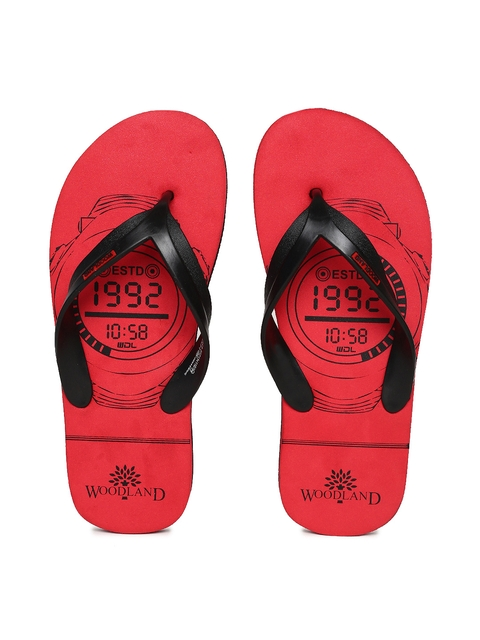 Woodland Men Black & Red Printed Thong Flip-Flops