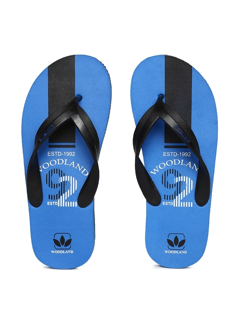 Woodland Men Black & Blue Printed Thong Flip-Flops