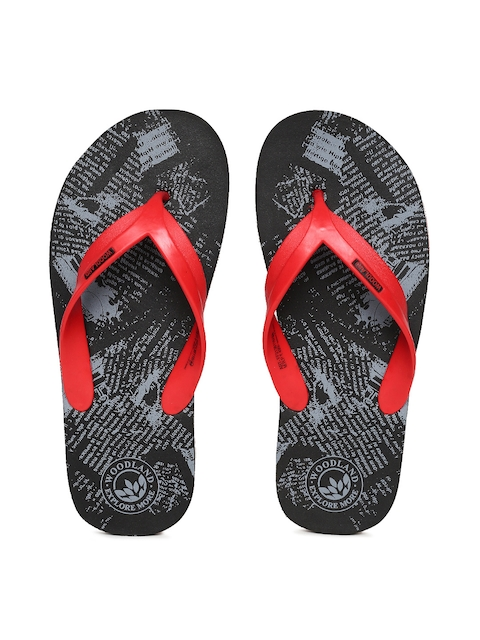 Woodland Men Red & Black Printed Thong Flip-Flops