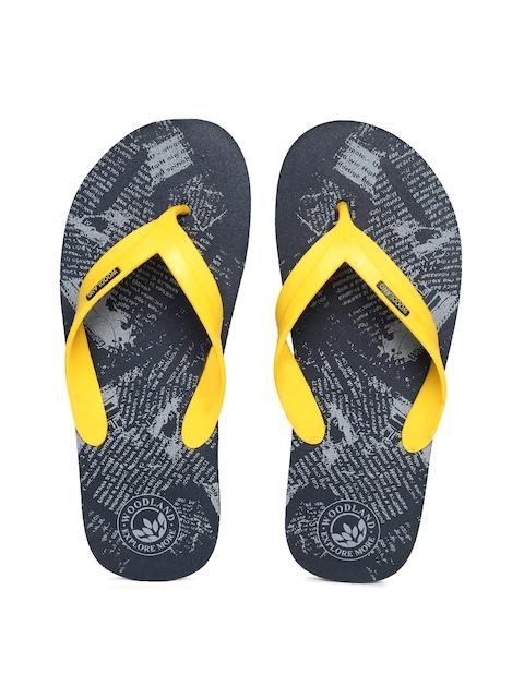 Woodland Men Yellow & Navy Blue Printed Thong Flip-Flops