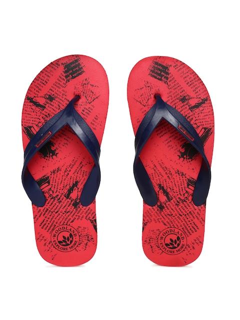 Woodland Men Navy Blue & Red Printed Thong Flip-Flops