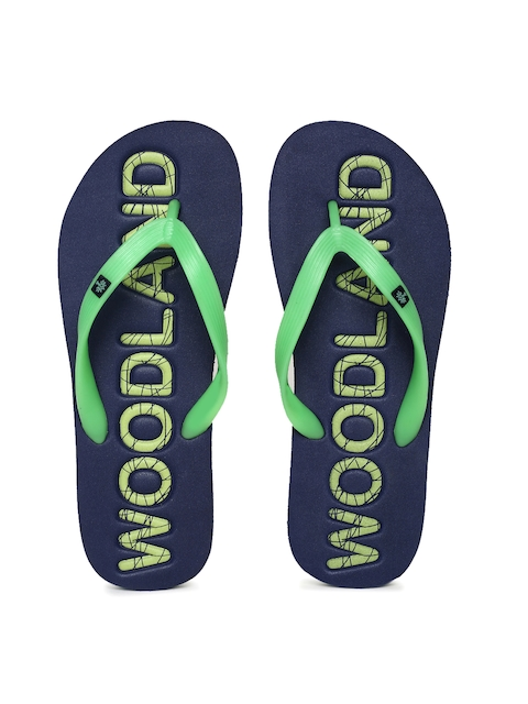 Woodland Men Green & Navy Blue Printed Flip-Flops