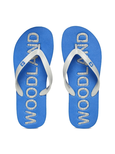 Woodland Men Grey & Blue Printed Thong Flip-Flops