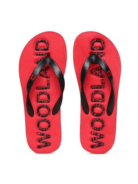 Woodland Men Black & Red Printed Thong Flip-Flops