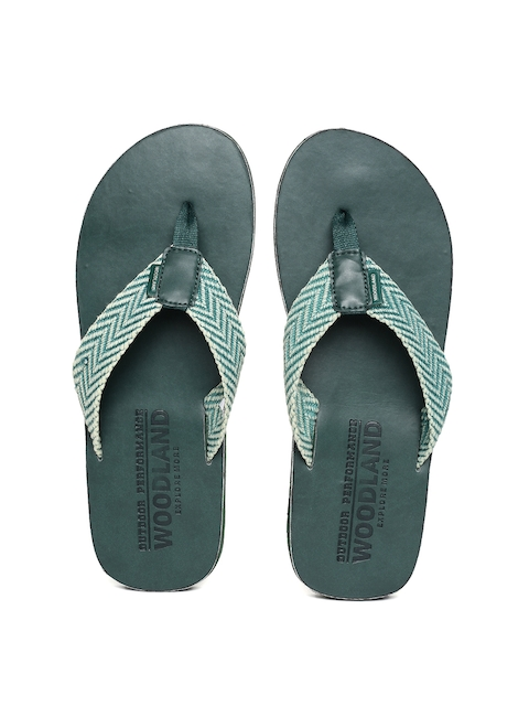 Woodland Men Teal Solid Thong Flip-Flops