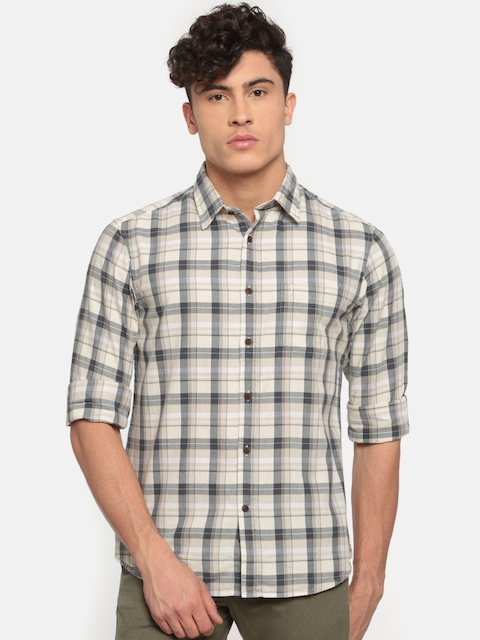 Indian Terrain Men Beige & Navy Blue Slim Fit Checked Casual Shirt