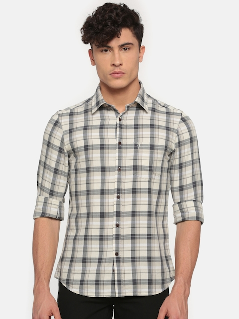 Indian Terrain Men Beige & Grey Slim Fit Checked Casual Shirt