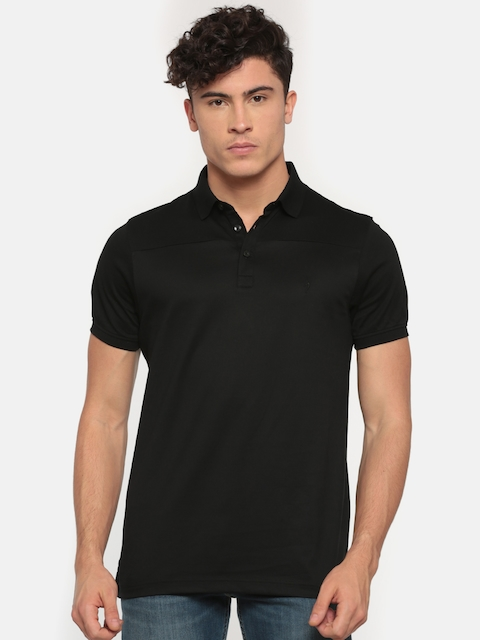 Indian Terrain Men Black Solid Polo T-shirt