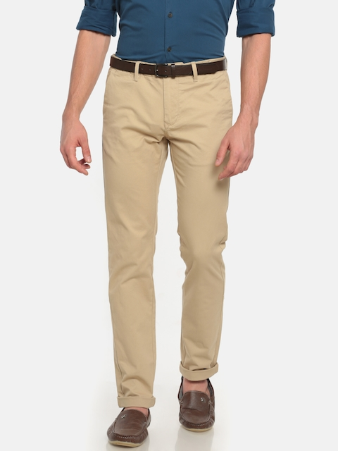 Indian Terrain Men Beige Brooklyn Slim Fit Solid Chinos