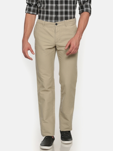 Indian Terrain Men Beige Kansas Regular Fit Solid Chinos