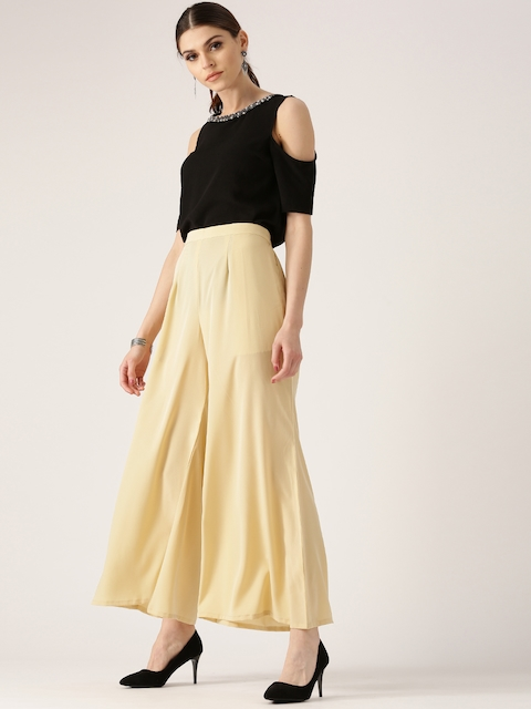 Libas Women Beige Flared Solid Palazzos