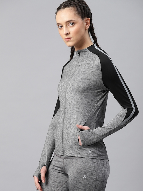 HRX by Hrithik Roshan Women Charcoal Grey Solid Running Sporty Jacket