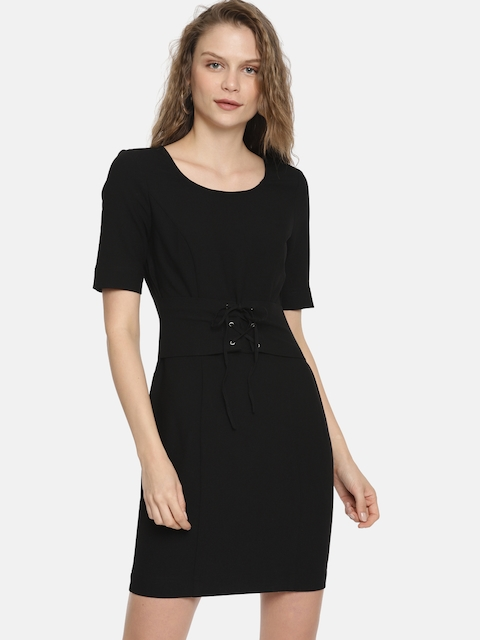 ONLY Women Black Solid Sheath Dress