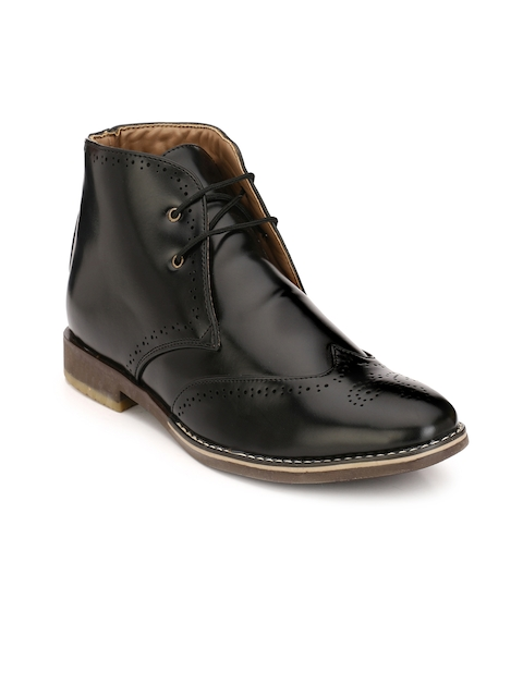 Eego Italy Men Black Perforations Synthetic Leather Mid-Top Flat Boots