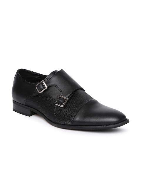 Tresmode Men Black Formal Monk Shoes