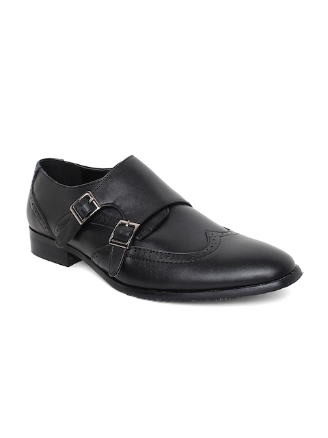 Tresmode Men Black Semiformal Monk Shoes
