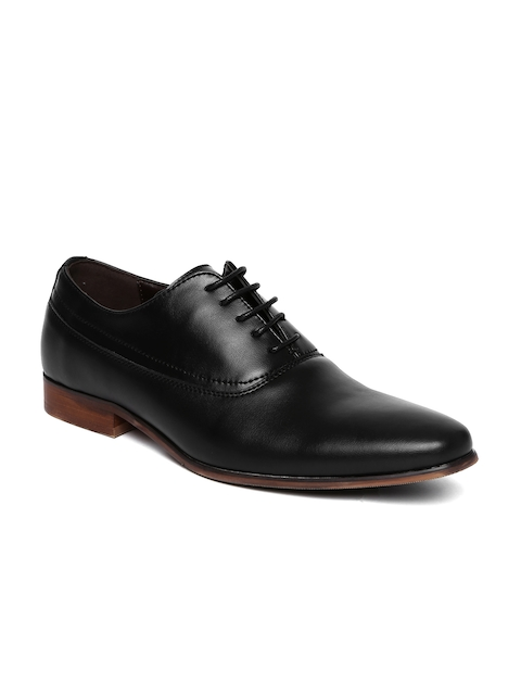 Tresmode Men Black Textured Oxfords Shoes