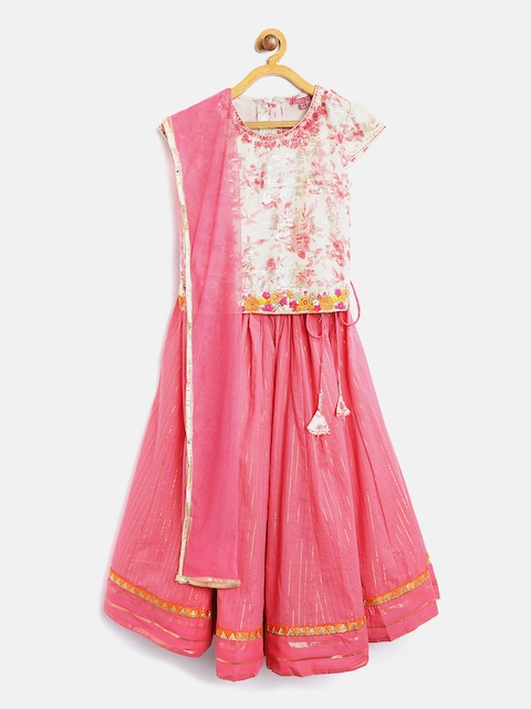 Biba Girls Pink & Off-White Printed Ready to Wear Lehenga & Blouse with Dupatta