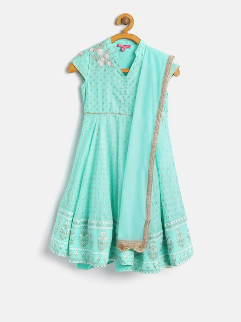 Biba Girls Sea Green & Gold Printed Anarkali Kurta With Dupatta