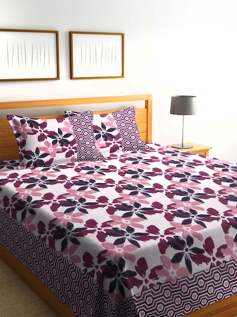 ROMEE White & Pink Printed Polycotton Double Bed Cover with 2 Pillow Covers