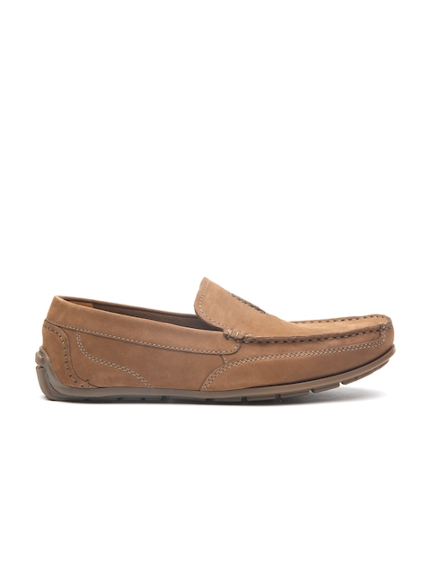 Clarks Men Tan Leather Benero Race Formal Slip-Ons