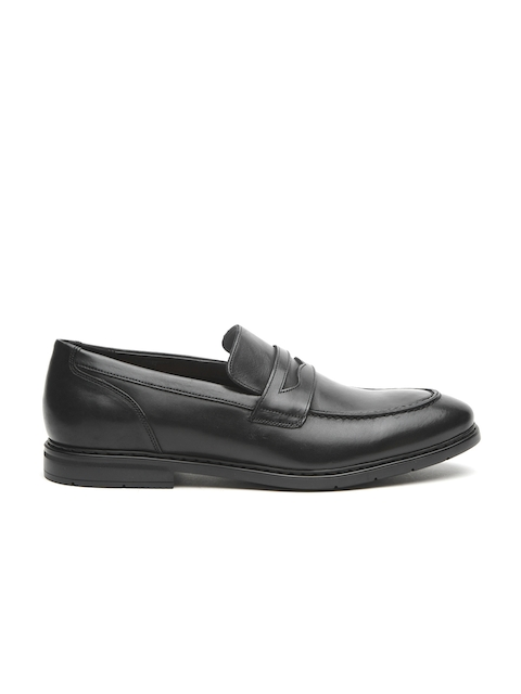 Clarks Men Black Leather Formal Penny Loafers