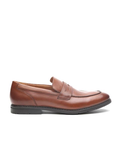 Clarks Men Tan Brown Leather Banbury Step British Formal Slip-Ons