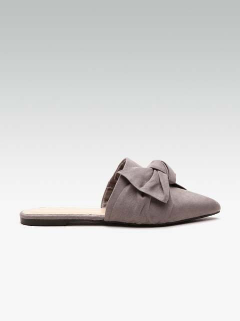 DOROTHY PERKINS Women Grey Solid Mules with Bow Detail