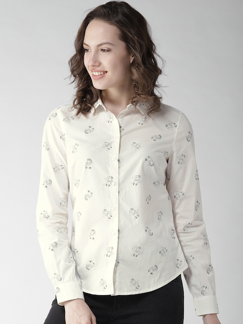 Levis Women Off-White & Black Printed Casual Shirt
