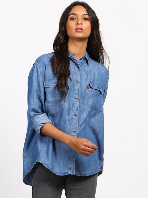Levis Women Blue Boxy Faded Casual Shirt