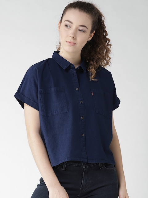 Levis Women Navy Blue Regular Fit Solid Casual Shirt