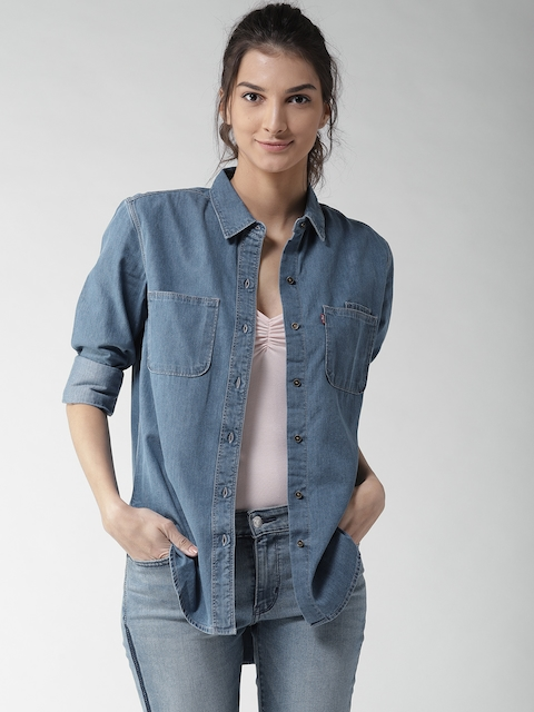 Levis Women Blue Regular Fit Solid Denim Casual Shirt