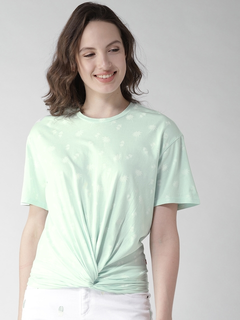 Levis Women Green & White Printed Blouson Top