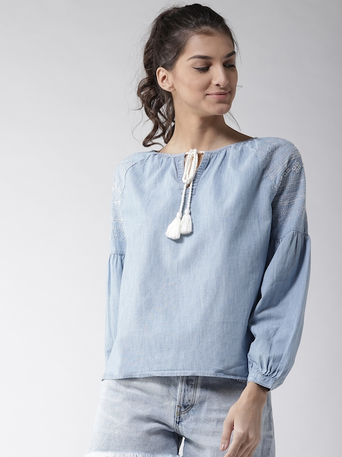 Levis Women Blue Solid Chambray Top