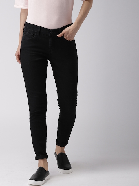 Levis Women Black Super Skinny Fit Mid-Rise Clean Look Stretchable Jeans 710