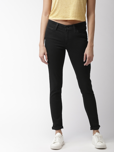 Levis Women Black 711 Skinny Fit Mid-Rise Clean Look Stretchable Jeans