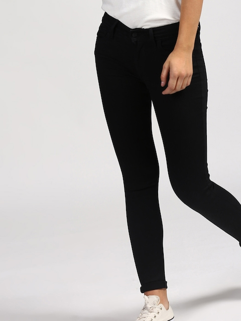Levis Women Black Skinny Fit Mid-Rise Clean Look Stretchable Jeans 710
