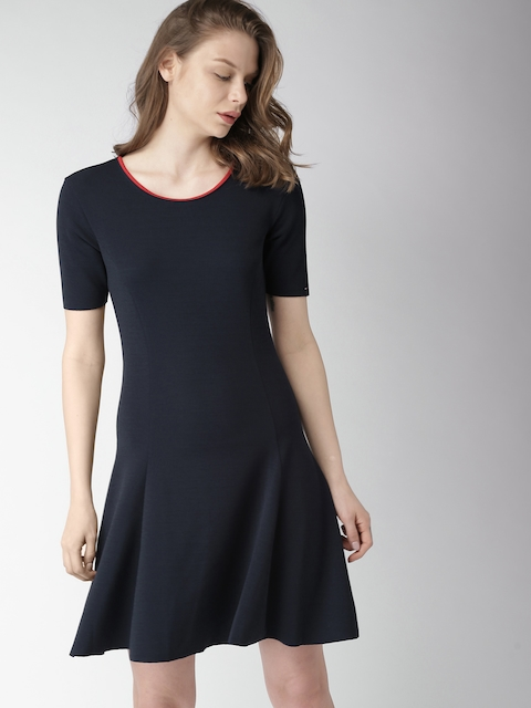 Tommy Hilfiger Women Navy Blue Solid A-Line Dress