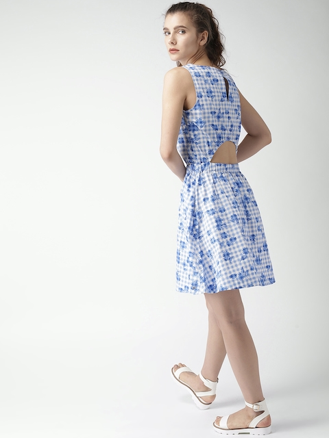 Tommy Hilfiger Women Blue & White Checked Fit and Flare Dress
