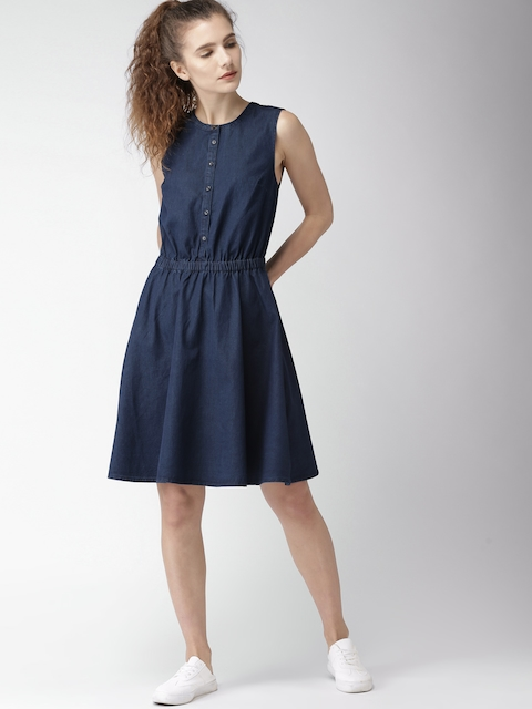 Tommy Hilfiger Women Blue Solid Fit and Flare Dress