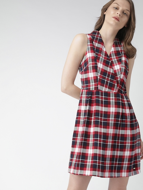 Tommy Hilfiger Women Navy & Red Checked A-Line Dress