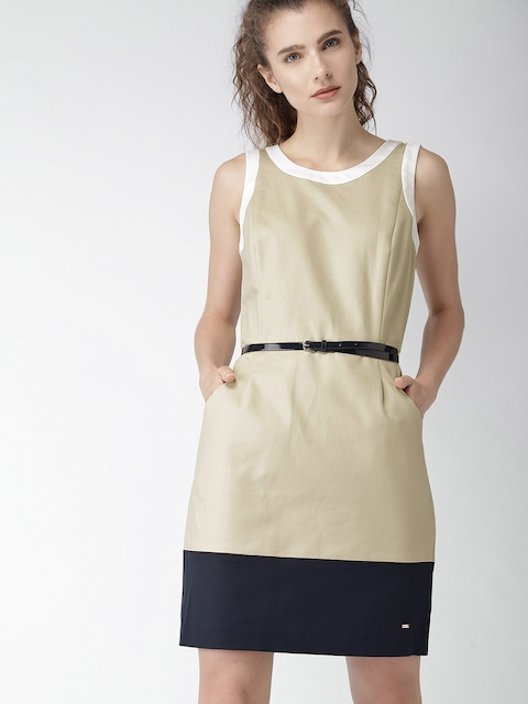 Tommy Hilfiger Women Beige Sheath Dress