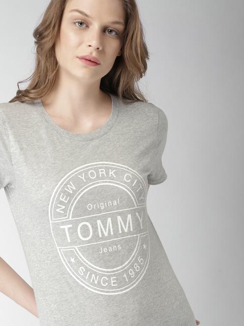 Tommy Hilfiger Women Grey Melange Printed Round Neck T-shirt