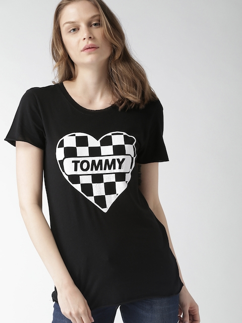 Tommy Hilfiger Women Black Printed Round Neck T-shirt