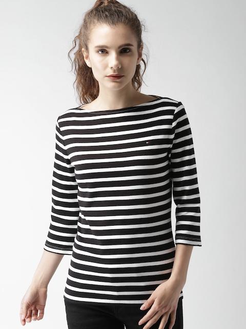 Tommy Hilfiger Women Black & White Striped Boat Neck T-shirt