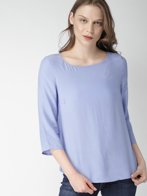 Tommy Hilfiger Women Blue Solid Top