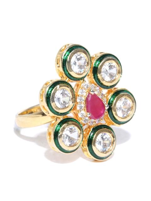 Chika Gold-Toned & Green Kundan-Studded Ring