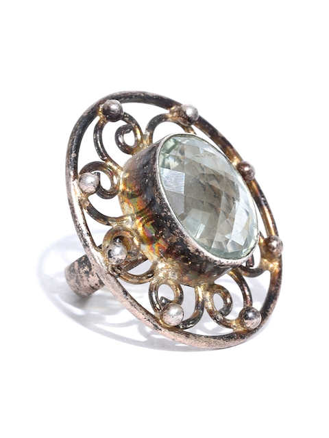 Chika Antique Gold-Toned & Green Stone-Studded Ring