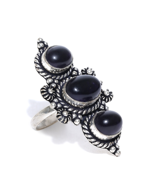 Chika Oxidised Silver-Toned & Navy Stone-Studded Ring