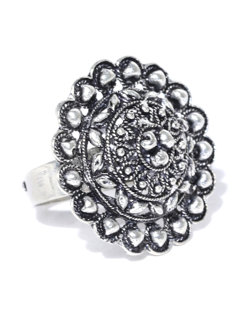 Chika Oxidised Silver-Toned Textured Ring